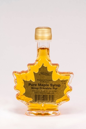 Glass Maple Leaf Maple Syrup by Robinson's 50ml